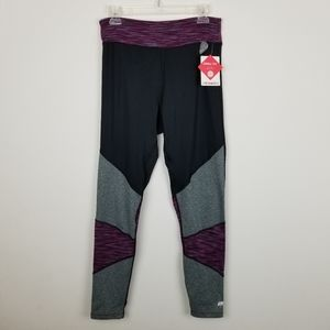 Marika XL Chill-Tek Aubergine & Black Leggings NWT